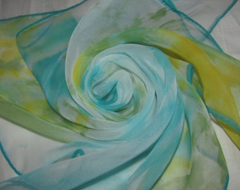 Vintage Vera Neumann Sheer Square Scarf - Abstract Green, Blue Pattern - Lightweight Scarf