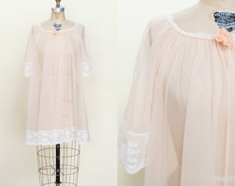 1960s Pale Pink Robe --- Vintage Sheer Nightie