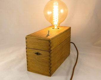 Lamp vintage wooden box