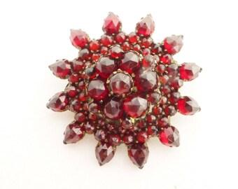 Victorian Bohemian Rose Cut Garnet Snowflake Starburst Brooch