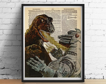 Vintage GODZILLA Cosmic Monster Robot Art Print Poster Sci-Fi Boys Room Decor Illustration Antique Dictionary Book Page A3 8x10 +More Sizes