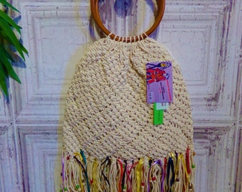 Macrame  arm bag with beads/tassels/ribbons/bamboo handles