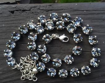 Black diamond swarovski crystal necklace