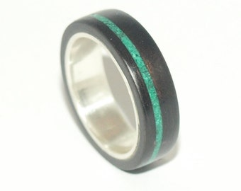 Wooden Rings - Bentwood Ebony, Silver & Malachite Lined Rings- Mens Wood Rings, Womens Wood Rings, Wood Engagement Rings, Wood Wedding Bands