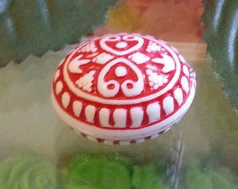 Antique, oval, red, acrylic 1Perle approximately 25 mm long, 20 mm wide, 17 mm thick, hole: 2 mm