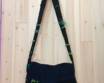 Handspun Handwoven Handmade Black Shoulder Bag w/Blue&Green accents