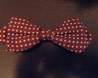 Vintage Beau Clip Bow Tie  Brown with White Polka Dots