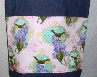 New Large Handmade Birds and Lilacs Denim Tote Bag