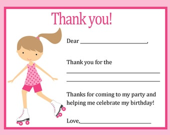 Rollerskate Thank You Card - Digital file - You print / Roller Skate Birthday Thank You / Skating Thank you card / Skate Thank You Card