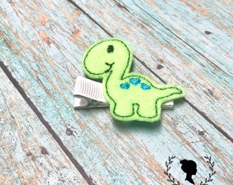 Green Dinosaur Clip - Barrettes for Toddlers - Barrettes for Infants - Small Gift - Barrettes for Girls - Animal Barrette - Gifts Under 5