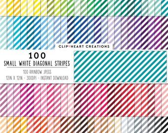 100 white diagonal stripes, Digital paper, Commercial use, digital stripes paper, digital scrap booking paper, small striped diagonal