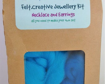 Felting Kit - necklace and earrings - craft kit - jewellery kit - felted beads - blue and turquoise