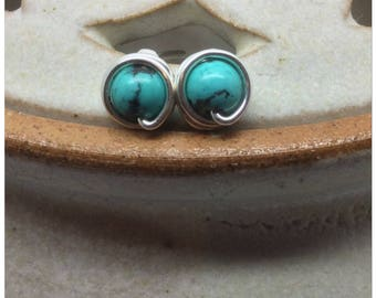 Turquoise Wire Wrapped Studs Turquoise Studs Turquoise Earrings Turquoise Posts December Birthstone Turquoise Genuine Gemstone Earrings