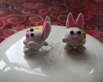 bunny, cute, plug, earrings, polymer clay, hand made, animal, jewelry, colorful, gift, present