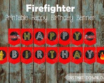 Fireman Happy Birthday Banner,  Fireman Printable Banner, Fireman Party Supplies, Firefighter Happy Birthday Banner, Fire Truck Party Banner