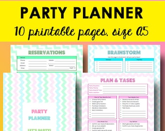 Party Planning Checklist, Event Planner Printable, Birthday Party Planner A5, Event Planning Printable Checklist, A5 size, Instant Download