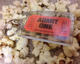 Admit One Theatre Cinema Ticket Keyring (Personalisation available)