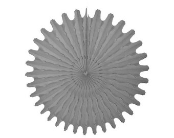 Grey tissue paper pinwheel fan.  18 inch.  Gray tissue fan.  Hanging party decorations.  Grey pinwheel fans.  Gray party decor.