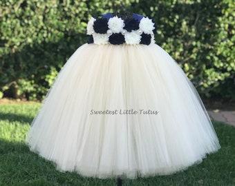 Navy Blue and Ivory Flower Girl Tutu Dress/ Navy Blue Ivory Flower Girl Dress/ Navy Blue Flower Girl Dress/ Ivory Flower Girl Dress