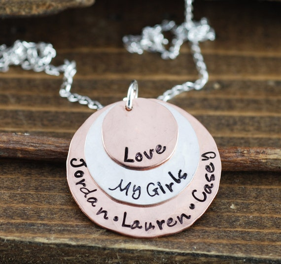 Hand Stamped Mommy Necklace - Personalized Necklace - Mothers Necklace - Love my Girls Necklace - Name Necklace - Gift for Mom