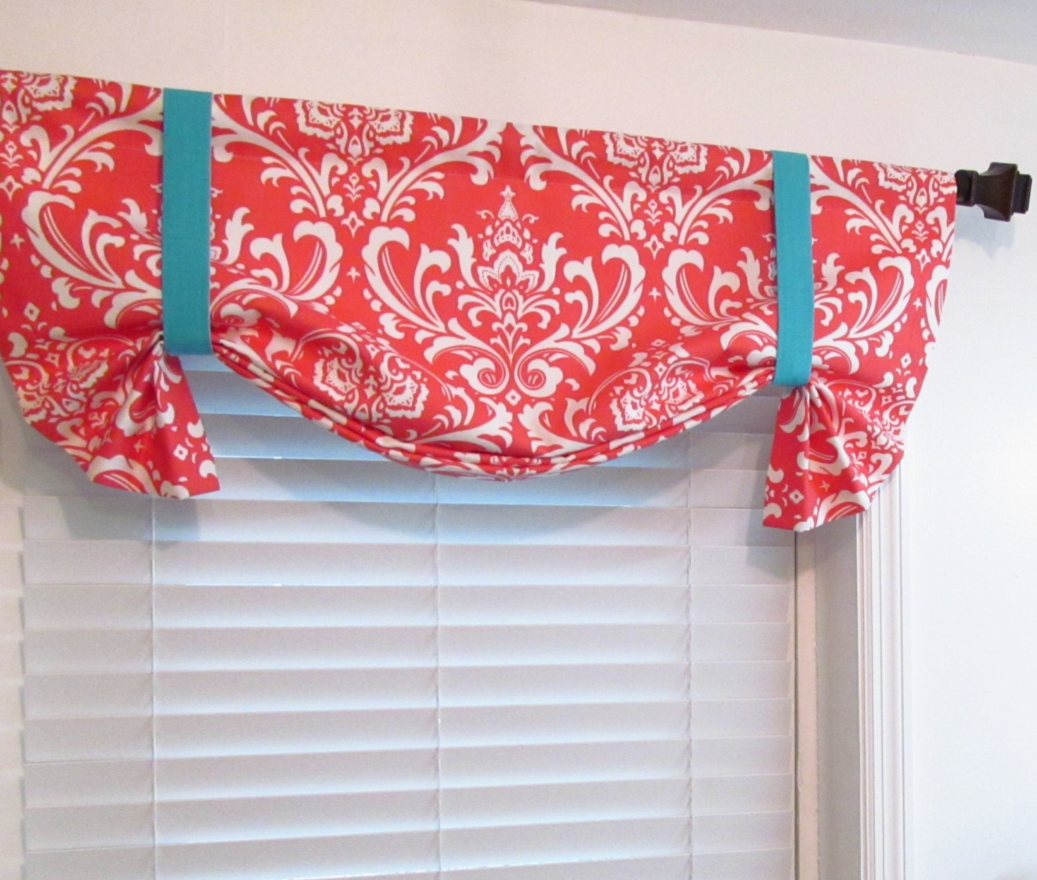 Tie Up Lined Valance Damask Coral Aqua Custom Sizing