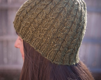 Hand knit mossy green cabled beanie hat