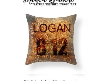 Custom Rust Photo Throw Pillow, Personalized Rust Pillow case, Personalized Industrial Decor, Rust Toss Pillow, Edgy Rust Throw Pillow Cover