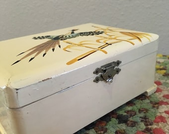 Vintage Ivory Enamel Hand Painted Jewelry Box with Pheasant. Vanity Box, Wood Decorative Box, Keepsake Box, Special Memento Box, Trinket Box