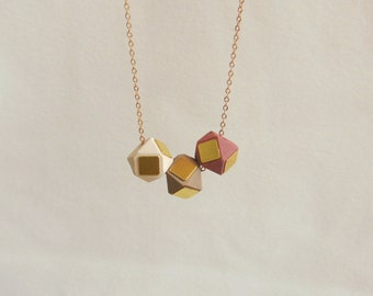 Minimalist Geometric Necklace , Faceted  Wood Geometric Necklace,Geometric Jewelry