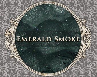 EMERALD SMOKE Shimmer Eyeshadow: Samples or Jars, Smokey Dark Green, Loose Powder Eyeshadow, VEGAN Cosmetics, Ships Out in 5-8 Days