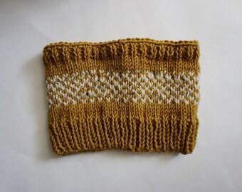 Knit Fair Isle Mustard and Cream Cowl