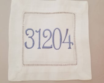 Zip Code Linen Hemstitch Coaster