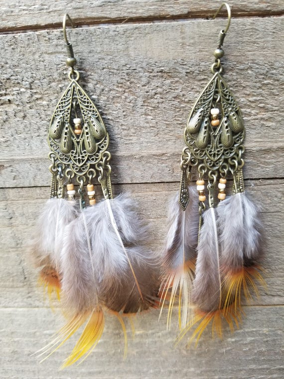 Light Tone Feathers Drop Down Dangle Native American Earth Jewelry Hippie Boho Natural Style
