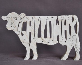 Galloway  Cow or Bull Cattle Puzzle Wooden Toy Hand Cut