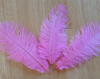 Baby Pink Ostrich Feathers - 3 Feathers