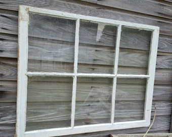 "Antique vintage farm house picture frame window sash 40"" x 31"" 6 pane very old 1930s"