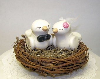 Wedding Cake Topper Birds Nest - Custom Made - Shown in White/Ivory, Blush Pink Coral and Black