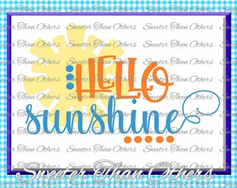 Beach Svg Hello Sunshine svg, Summer Beach pattern, Dxf Silhouette, Cameo cut file, Cricut cut file, Silhouette Pattern INSTANT DOWNLOAD