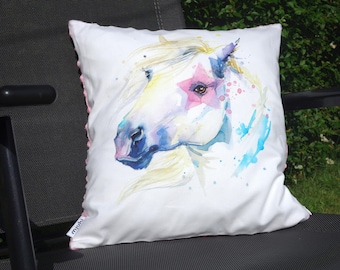 Horse Cushion, Horse Pillow, Ponny Cushion, Ponny Pillow,  36cmx38cm. Cotton and minky. White ans pink