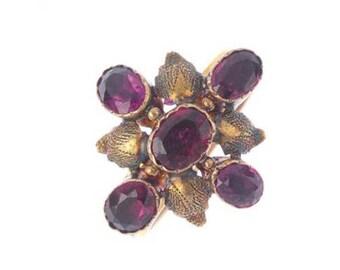 A Garnet Foil Back Ring
