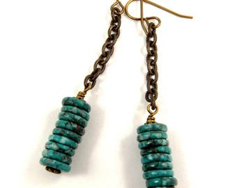 Turquoise Green Boho Long Dangle Gemstone Earrings, Casual Everyday Bohemian Accessory