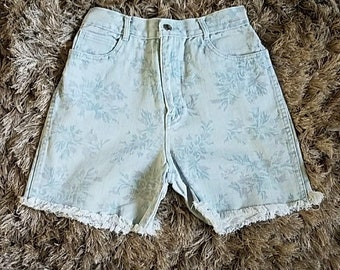 Vintage 90's RIO by Stephen Mardon Jean High Waisted Shorts Size 12 Floral