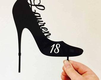 "Birthday Acrylic Cake Topper - Custom ""High Heel Shoe"" Birthday (ARC1764) MADE IN Australia | Stiletto | Stiletto Cake Topper | High Heel"