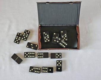 Vintage DOMINO game with box - Black and White dominoes