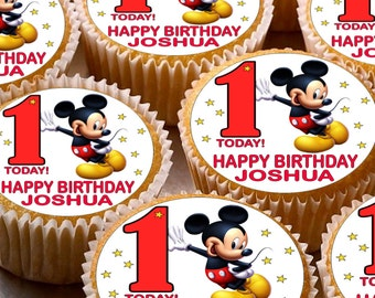 24 x Personalised Mickey Mouse Cup Cake Toppers with Any Name Happy Birthday