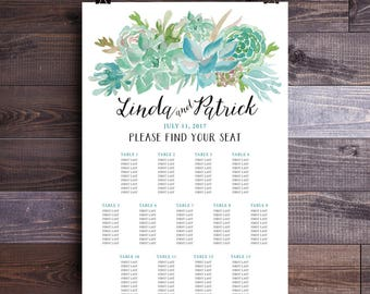 Print at Home Watercolor Succulent Green and Blue Wedding Seating Assignment Chart (DIY Printable Digital File)
