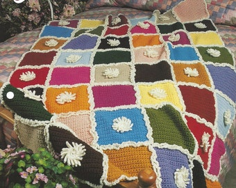 Chrysanthemum Afghan Pattern  - Annie's Crochet Quilt & Afghan - Crochet Quilt, Blanket, Bedspread, Home Decor, Bedding, Couch Throw