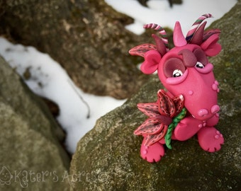 Polymer Clay Dragon 'StarGazer' - Limited Edition Flower Collection - Handmade Collectible