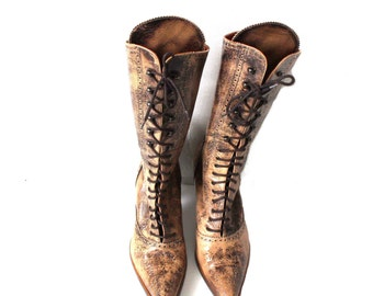 Roberto Botticelli Brown Beige Leather High Heels Boots Lacing Shoes Urban Shoes Designers Shoes EUR 40 / UK 7 / US 9