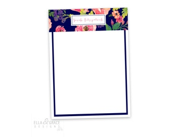 Ella Floral. Personalized Notepad. Personalized Note Pad. Personalized Stationery. Stationary. Notepad. Family Notepad. Custom. Office.
